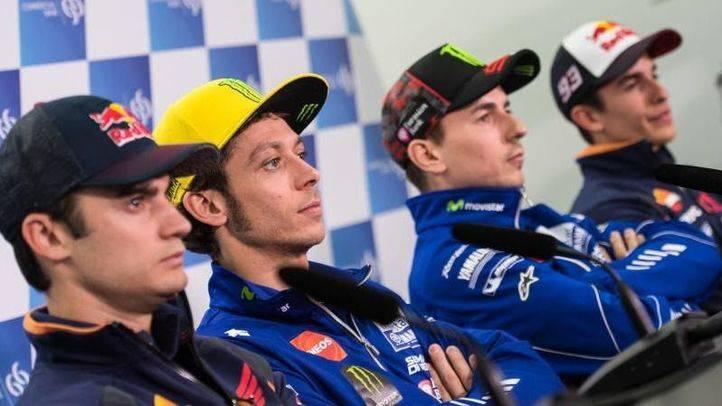 Lorenzo, Rossi y Márquez se ven las caras por primera tras la pasada temporada