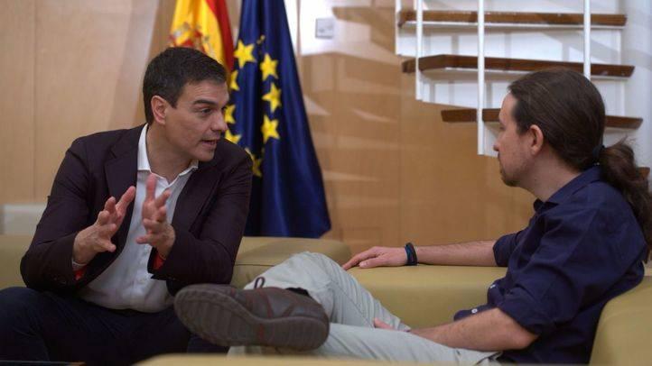 Pedro Sánchez y Pablo Iglesias se reúnen este miércoles en el Congreso