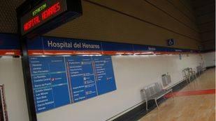 Línea 7 del Metro a su paso por Hopital de Henares.