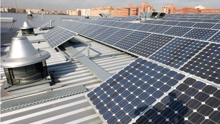 Paneles solares en la cocheras de la EMT. (Archivo)