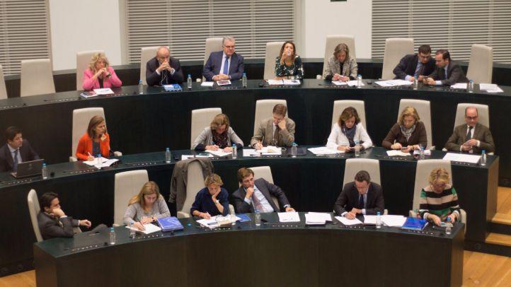 El grupo del Partido Popular, en el pleno del Ayuntamiento de Madrid (archivo)