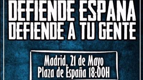 Cartel publicado por Hogar Social Madrid para convocar a la gente a la manifestación del sábado 21