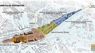 Ámbitos de ordenación del proyecto Madrid Norte.
