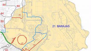 Plano del distrito de Barajas (Valdebebas, en la esquina superior izquierda)