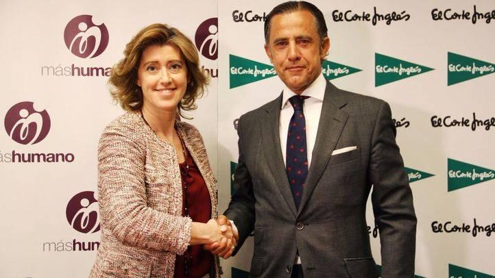 Diego Copado, director de Comunicación y Relaciones Externas de El Corte Inglés junto con María Sánchez Arjona, presidenta de la Fundación máshumano durante la presentación de los premios.