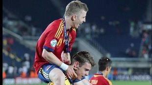 De Gea y Muniaín celebrando el Europeo Sub-21 de 2013.