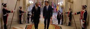 Rajoy y Felipe VI acompañan a Obama en su visita relámpago a Madrid
