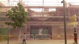 Trabajos de derribo del Cine Palacio, esta semana