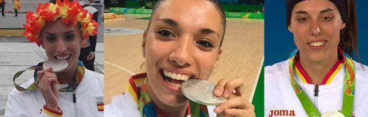 Sandra Aguilar, Laura Quevedo y Eva Calvo con las medallas ganadas en Río.