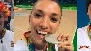 Sandra Aguilar, Laura Quevedo y Eva Calvo con las medallas ganadas en R�o.