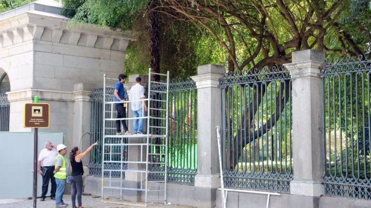 T�cnicos y obreros inspeccionar las obras de restauraci�n junto a la Puerta de Murillo del Jard�n Bot�nico de Madrid.