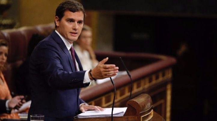Albert Rivera en un momento de su discurso en el Congreso de los Diputados