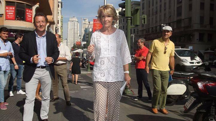 Esperanza Aguirre, este miércoles en Gran Vía