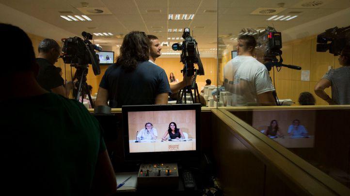 Marta Higueras y Rita Maestre, en la rueda de prensa de este jueves