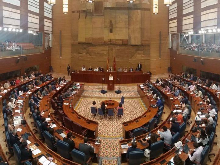Vista general del hemiciclo de la Asamblea de Madrid.