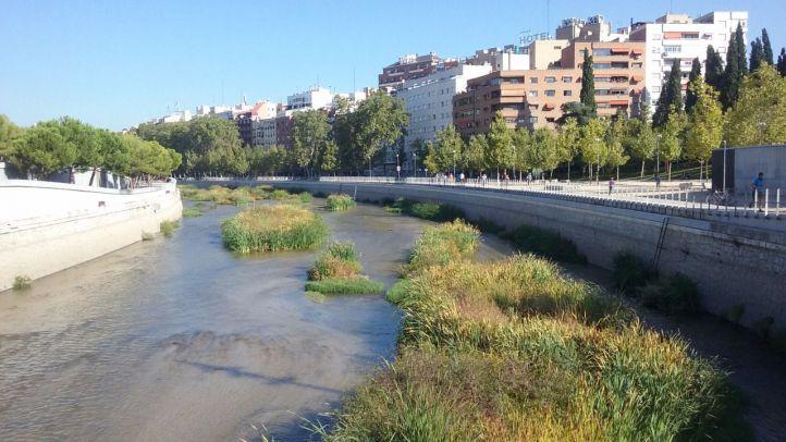 Río Manzanares tras abrirse las compuertas