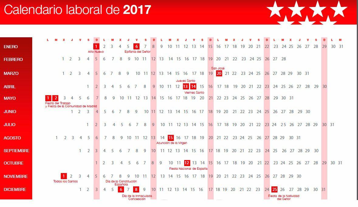 As es el calendario laboral de 2017 madridiario for Calendario laboral leganes 2017