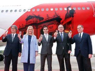 Presentación de la línea aérea entre Madrid y Tokio