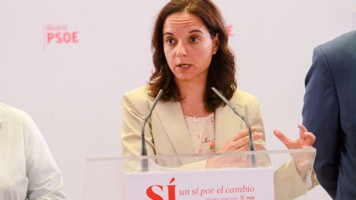 Sara Hernández,  secretaria general del PSOE-M, valora en rueda de prensa los resultados de las elecciones generales del 26J en Madrid.