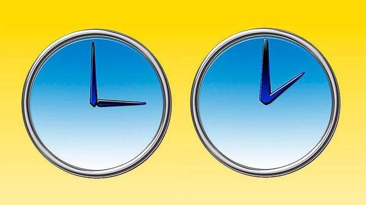Grafismo para cambio de hora a tres son las dos