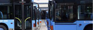 Autobuses de la EMT en las cocheras. (Archivo)