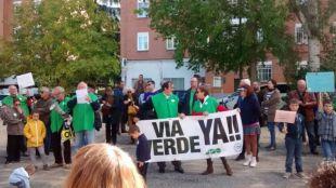 Protesta de AFAO por la Vía Verde