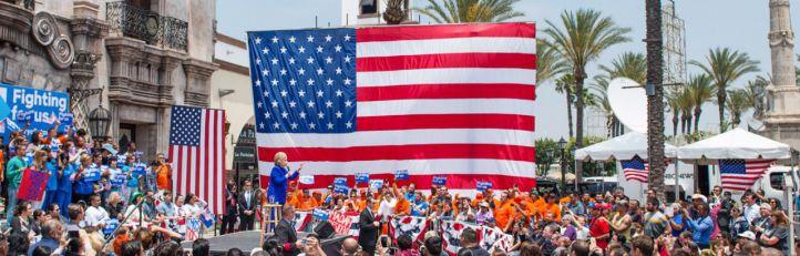 Hillary Clinton en un mitín electoral