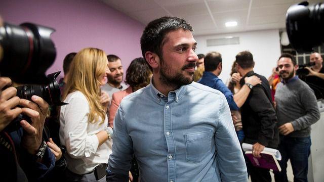 Ramón Espinar, tras conocer su victoria como secretario general de Podemos en la Comunidad de Madrid