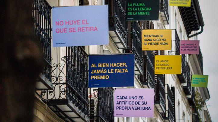 Vecinos de la calle Justiniano conmemoran el centenario de Cervantes