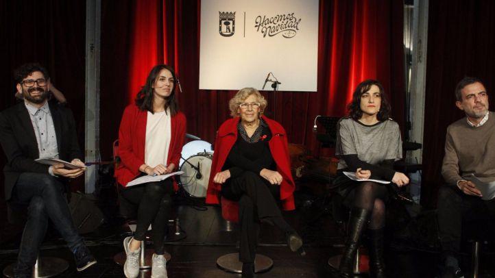 Manuela Carmena y Rita Maestre, en la presentación de las actvidades de la Navidad programadas por el Ayuntamiento de Madrid