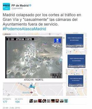 Tuit del PP de Madrid, anoche