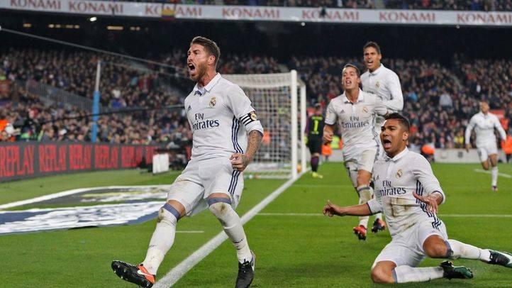 Sergio Ramos celebra su gol ante el Barça