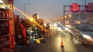 Un accidente múltiple provoca graves retenciones en la M-30