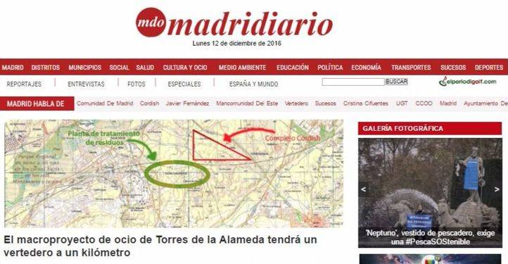 Portada de la página web de Madridiario