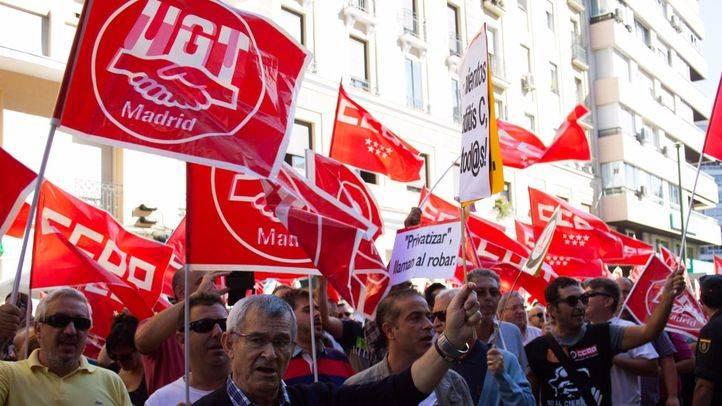 Los sindicatos de trabajadores concentración contra la liberalización de horarios comerciales en Madrid