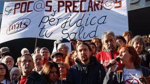 Pablo Iglesias participa en el encierro del 12 de Octubre para denunciar la precariedad laboral del personal sanitario