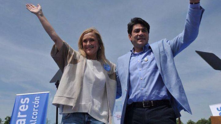David Pérez y Cristina Cifuentes, en un acto de campaña electoral