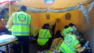 Equipos de Emergencias en un incendio en Villaverde