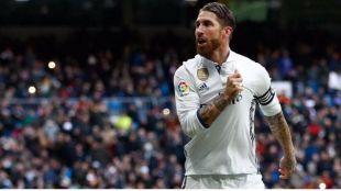 Sergio Ramos celebra un gol al Málaga