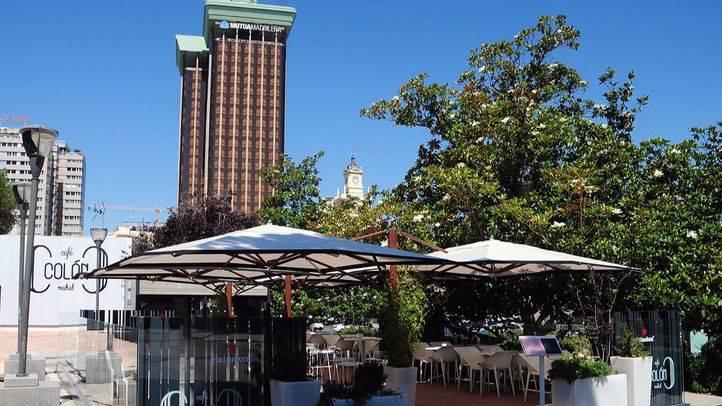 La terraza sobre el Centro Cultural Villa Fernan Gomez, con el Edificio Barclays Bank de fondo (Archivo)