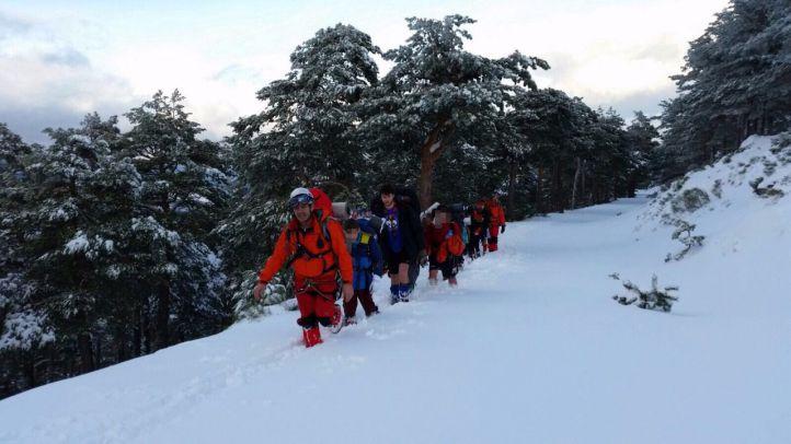 Los 'scouts' se adentraron en una zona en la que la nieve era muy abundante
