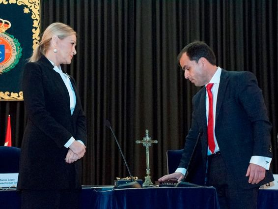 Javier Ramos en su toma de posesión de su nuevo cargo de rector de la URJC