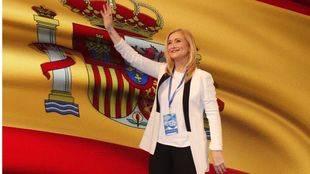 Cristina Cifuentes, en el Congreso regional este sábado, junto a Taboada y Garrido