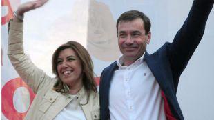 Susana Díaz y Tomás Gómez (archivo).