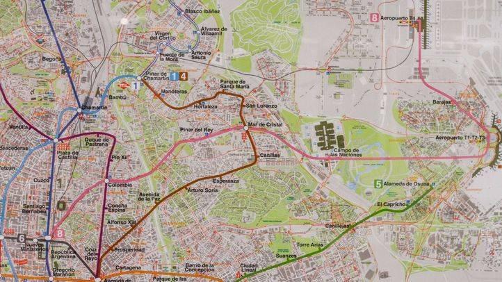 Detalle en el plano de Metro de Madrid de la línea 8.