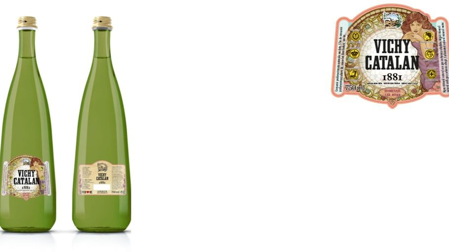 La botella de Vichy Catalán 1881, inspirada en la Musa del Agua