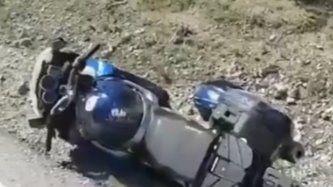 Herido un motorista por esquivar un animal en Navalagamella