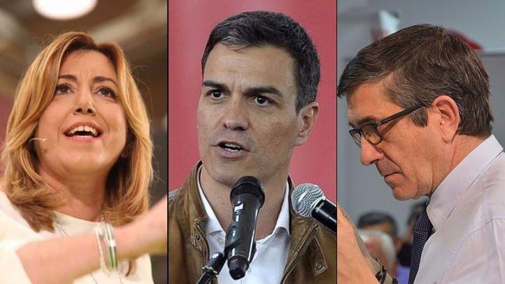 Susana Díaz, Pedro Sánchez y Patxi López, precandidatos a las primarias del PSOE.