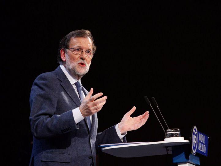 Mariano Rajoy, en la tribuna del último Comité Regional del PP de Madrid. (Archivo)