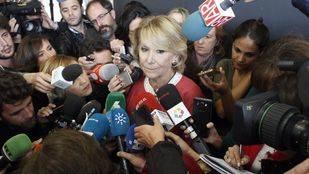 La expresidenta de la Comunidad de Madrid ante los medios tras declarar en la Audiencia Nacional.